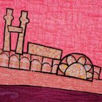 detail from St. Louis - Wish You Were Hair, art quilt by Pam RuBert