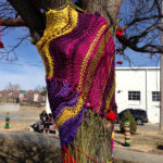 Meganne Rosen O'Neal and Laura Provance yarnbomb