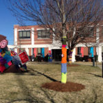 Pool Art Center yarn bomb organized by Wendy Anderson